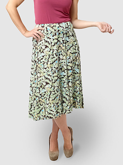 Light Ivy Ditsy Floral Pull-On Skirt