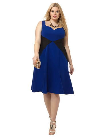 Viola Dress in Royal & Black