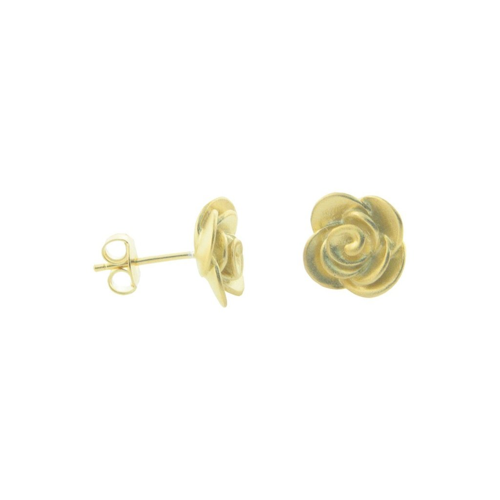 Gold Plated Rose Flower Stud Earrings