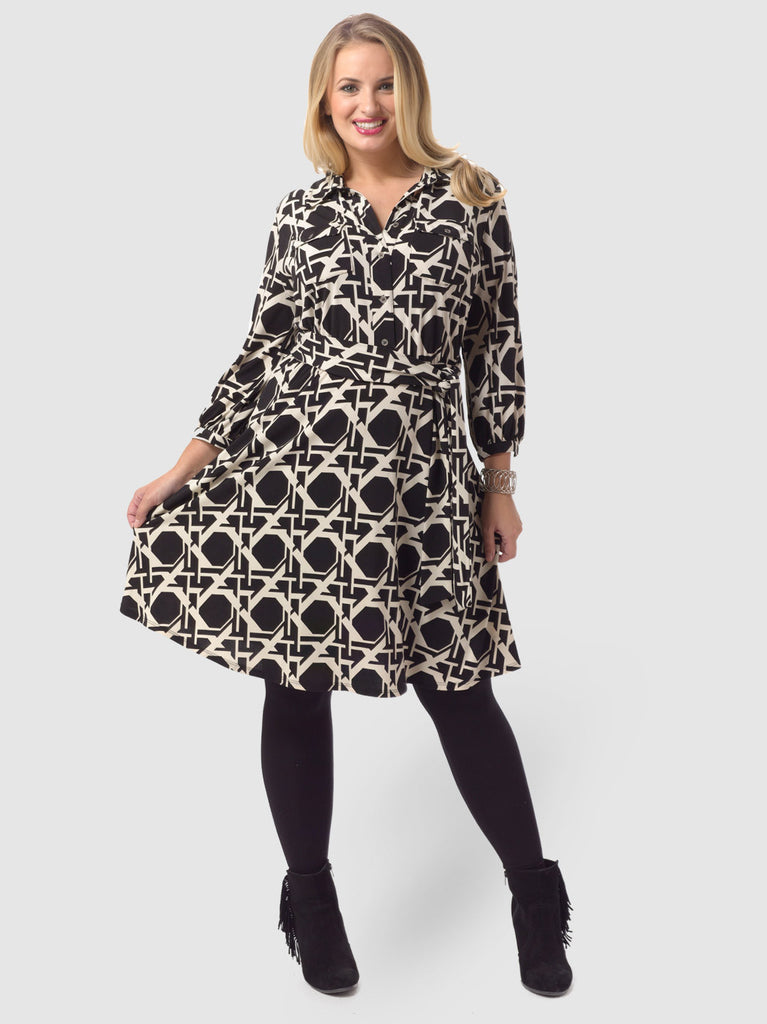 Three-Quarter-Sleeve Printed Belted Shirt Dress