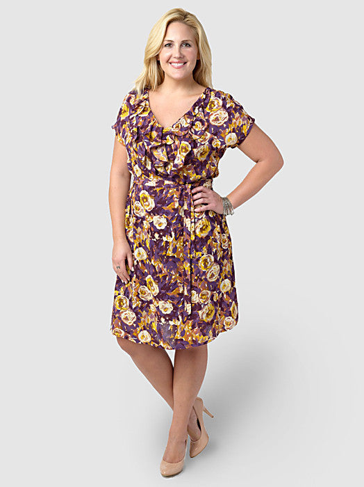 Print Ruffle Front Georgette Dress