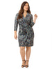 Abstract Animal Printed Faux Wrap Dress