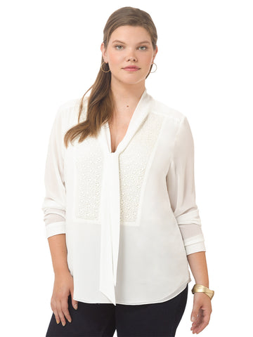 Ivory Bow Tie Lace Shirt