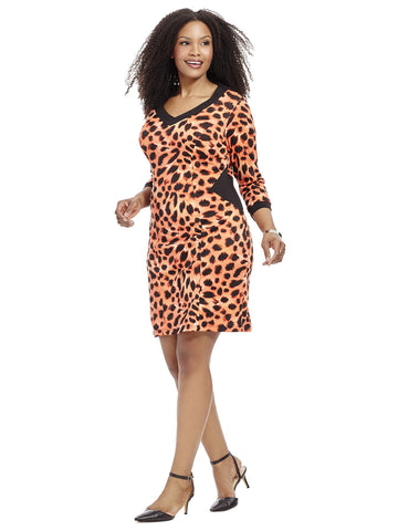 Printblocked Sheath Dress in Leopard