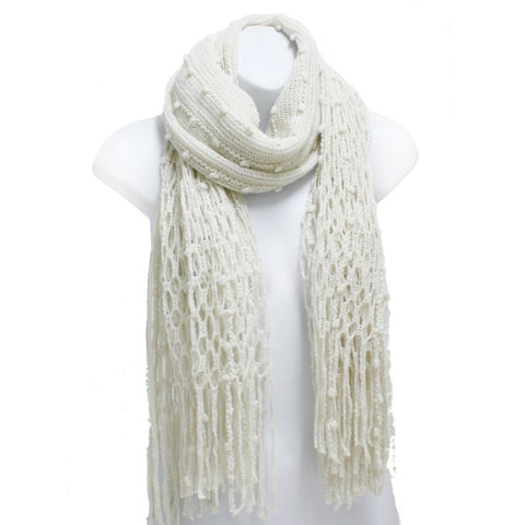 Fish Net Weave Oblong Scarf with Fringe in Off White