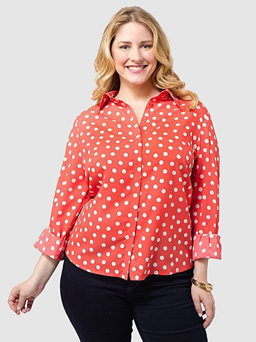Spot Print Shirt in Coral