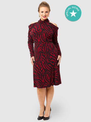 Cold Shoulder Animal Print Dress