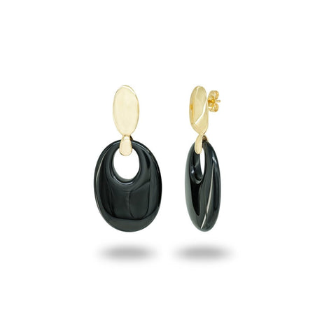 Black Obsidian Crystal Golden Earrings