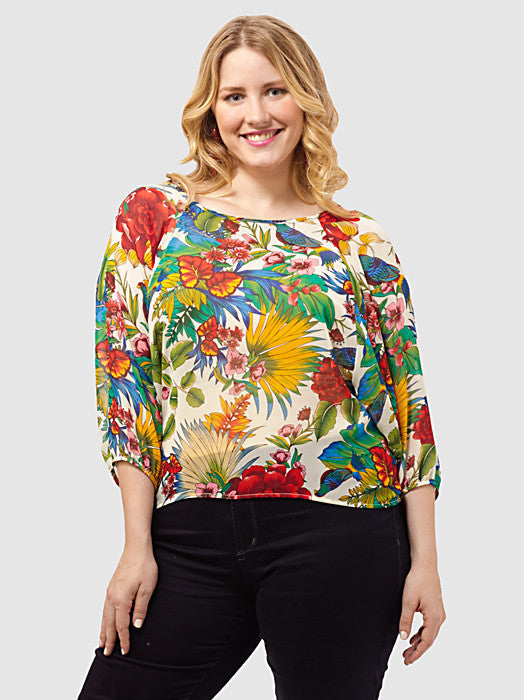 Tropical-Print Blouse