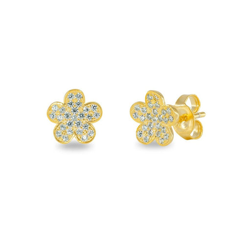Gold Daisy Flower Stud Earrings