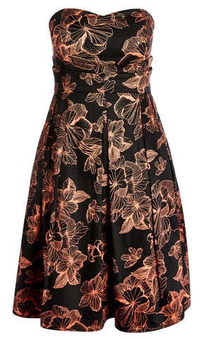 Floral Outline Fit And Flare Dress