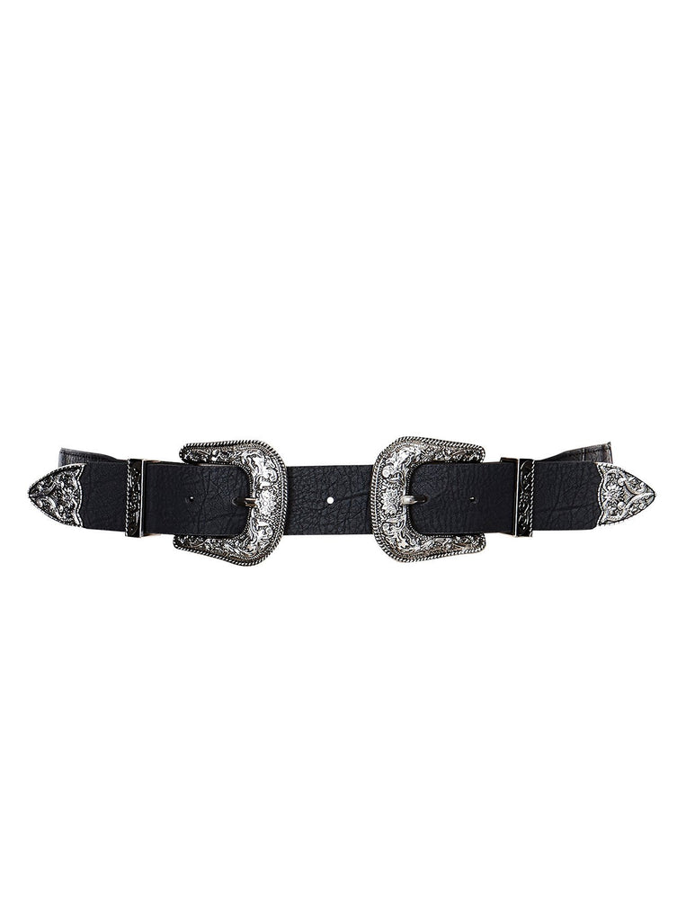 Double Buckle Black Belt