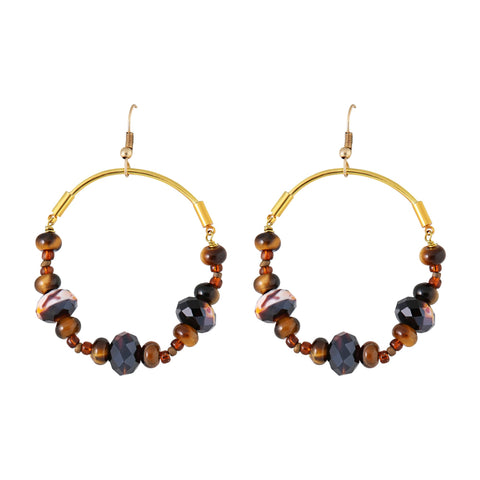 Genuine Gemstone Gold Plated Hoop Earrings