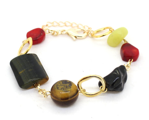 Bold Genuine Gemstone Gold Plated Bracelet