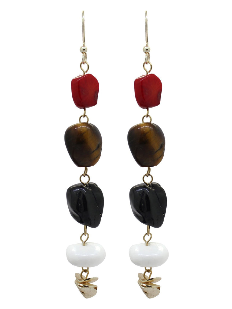 Bold Genuine Gemstone Gold Plated Earrings