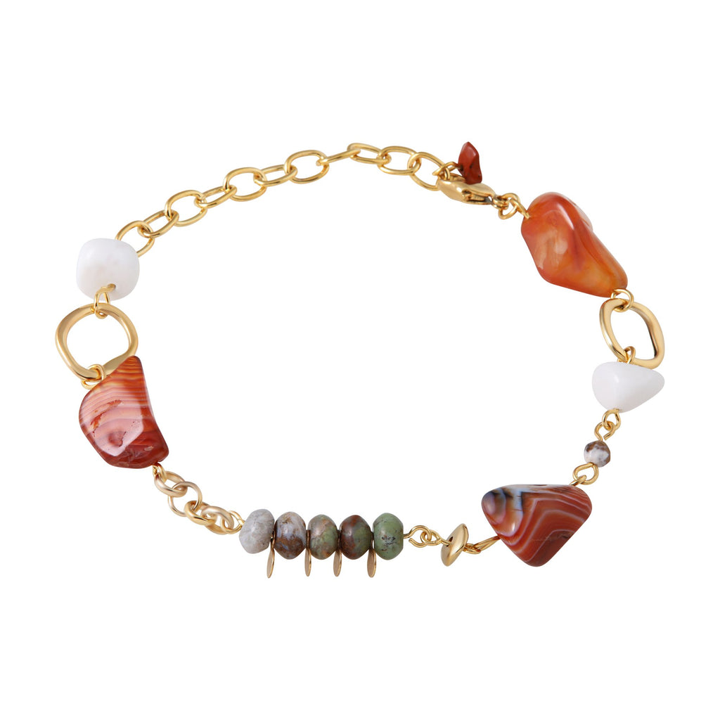 Elegant Genuine Gemstone Gold Plated Bracelet