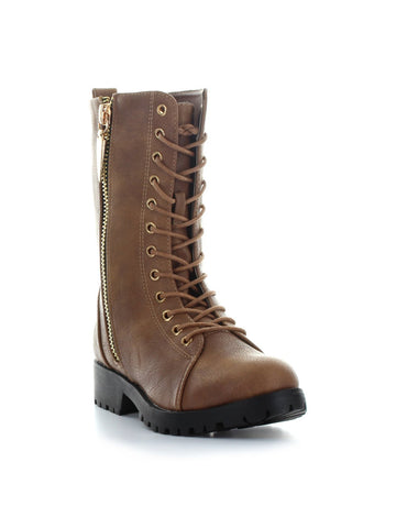 Mr. Zipper Combat Boot In Saddle