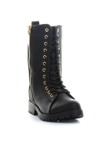 Mr. Zipper Combat Boot In Black