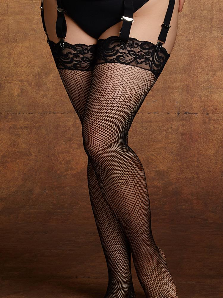Lace Top Thigh High Fishnet Stockings