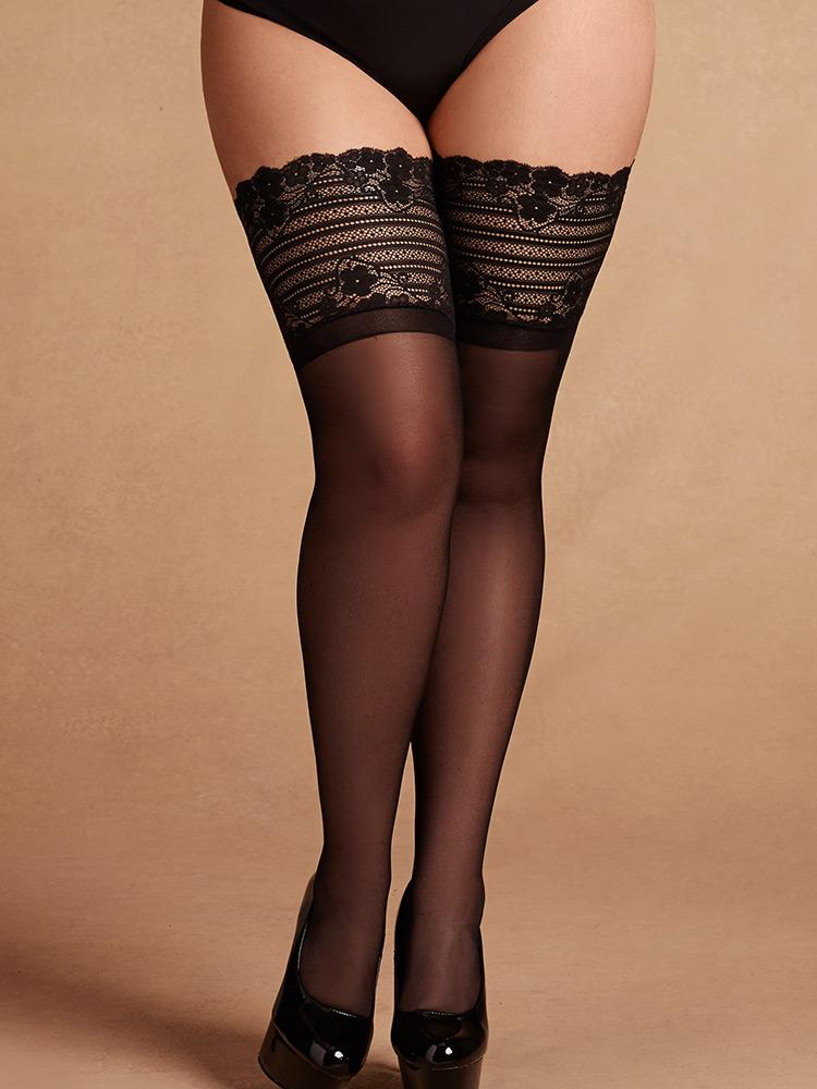 Floral Stripe Wide Band Lace Stay-Up Thigh Highs