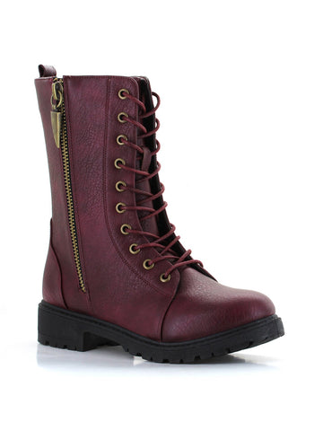 Mr. Zipper Combat Boot In Wine