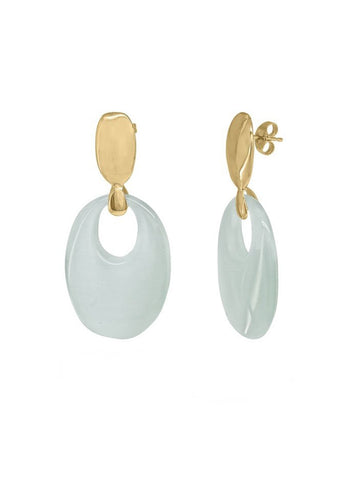 Aqua Obsidian Crystal Golden Earrings
