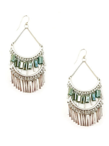 Chandelier Statement Earrings In Silver Tone