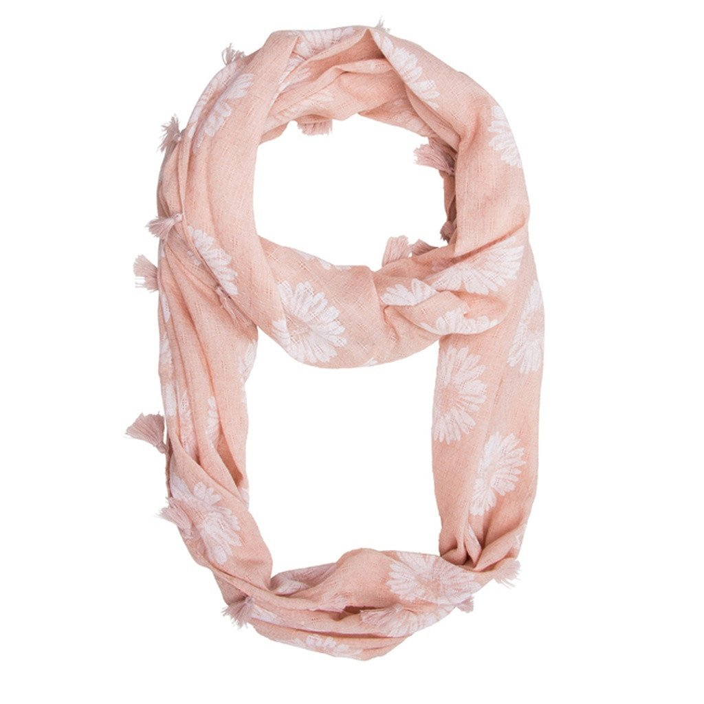Pink Sunflower Infinity Scarf With Tassel