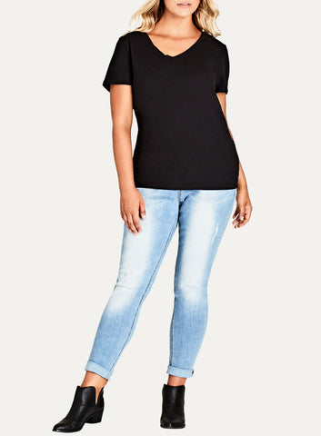 V Neck Boyfriend Top In Black