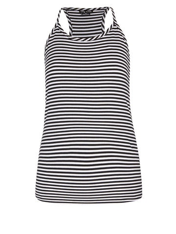 Stripe Sailor Tank Top In Black