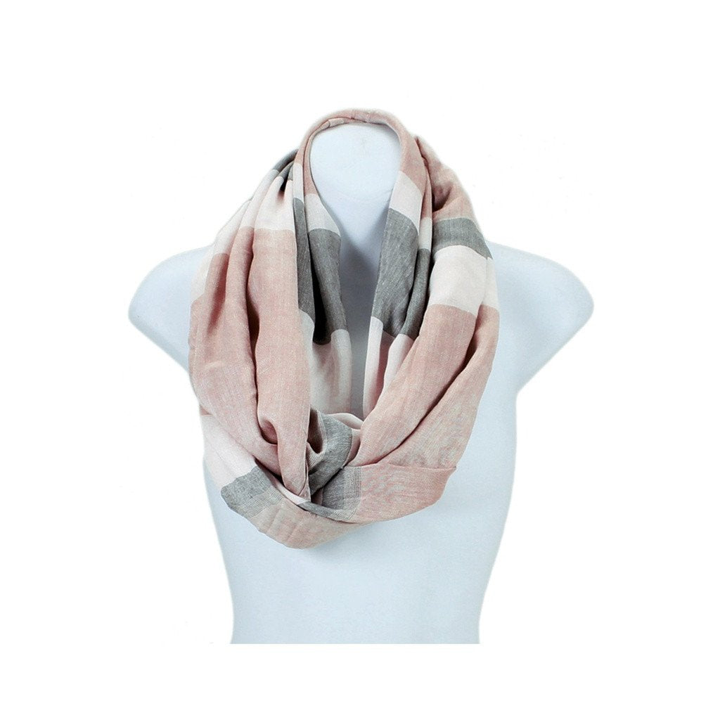Colorblock Wide Stripe Infinity Scarf - Available In More Colors