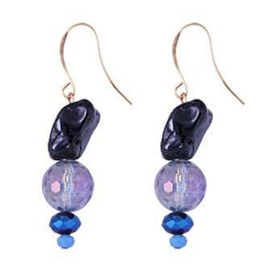 Genuine Gemstone Gold Plated Drop Earrings