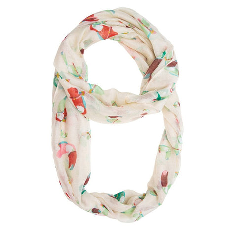 Toucan Infinity Scarf in White