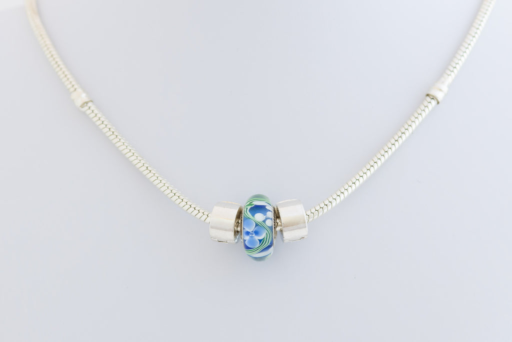 Breathe bead on silver necklace
