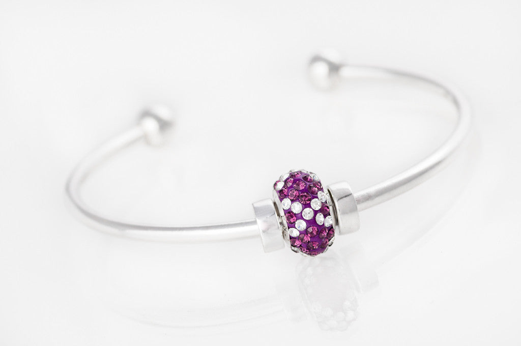 End Violence bead on the bangle bracelet