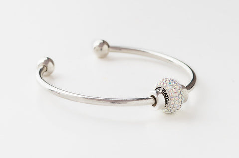 Just Watch Me bead on silver bangle bracelet