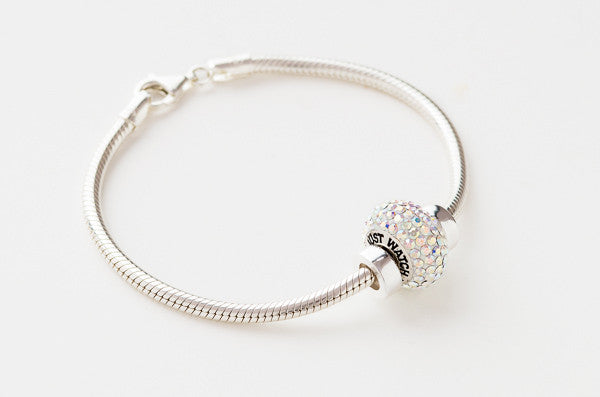 Just Watch Me bead on sterling silver chain bracelet