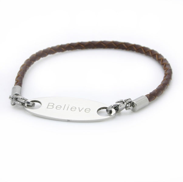 Make it into a bracelet! Brown braided leather