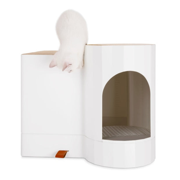 Totally enclosed type fully automatic induction lamp cat toilet modular wood grain cat litter basin pet supplies cat litter box