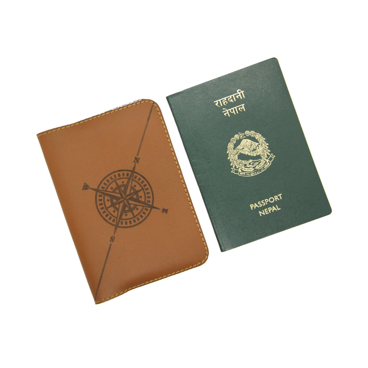 Compass - Brown Passport Sleeve