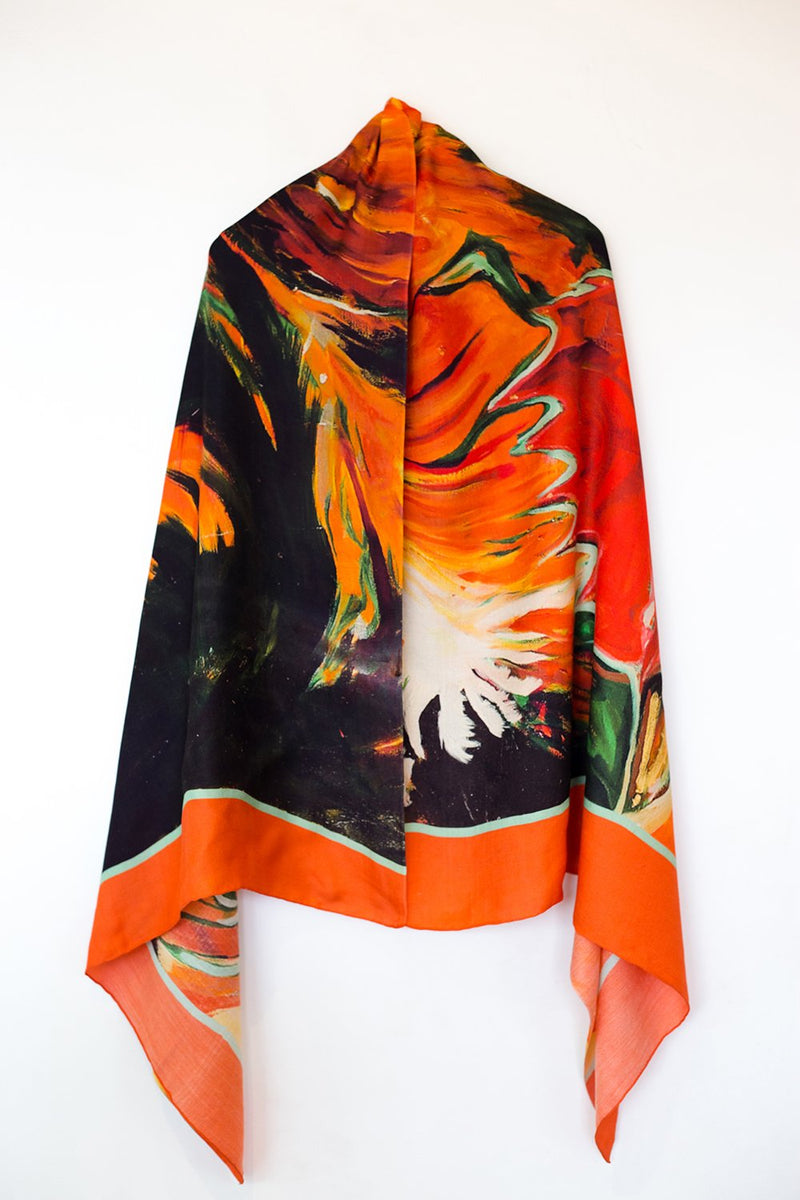 Bhale-Rooster Silk Shawl