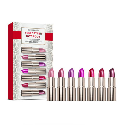 bareMinerals® You Better Not Pout™ 7 Mini Moxie Lipstick Collection