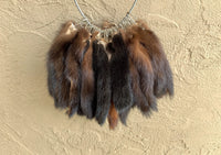 "Tanned Mink Tail Keychain 6"" - 8"" with pressed grommet (smink)"