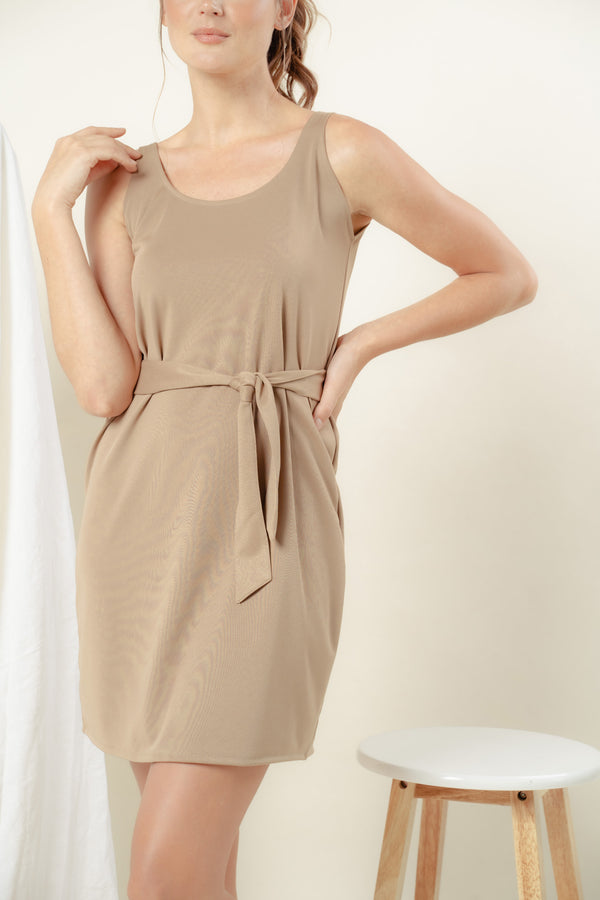 Callie Scoop Midi Dress (NUDE)