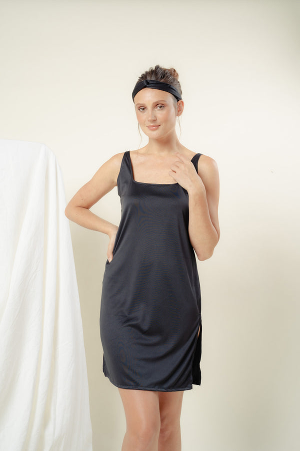 Sabine Reversible Lounge Dress (BLACK)