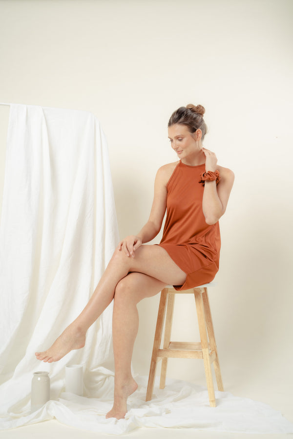 Naomi Halter Lounge Dress (RUST)