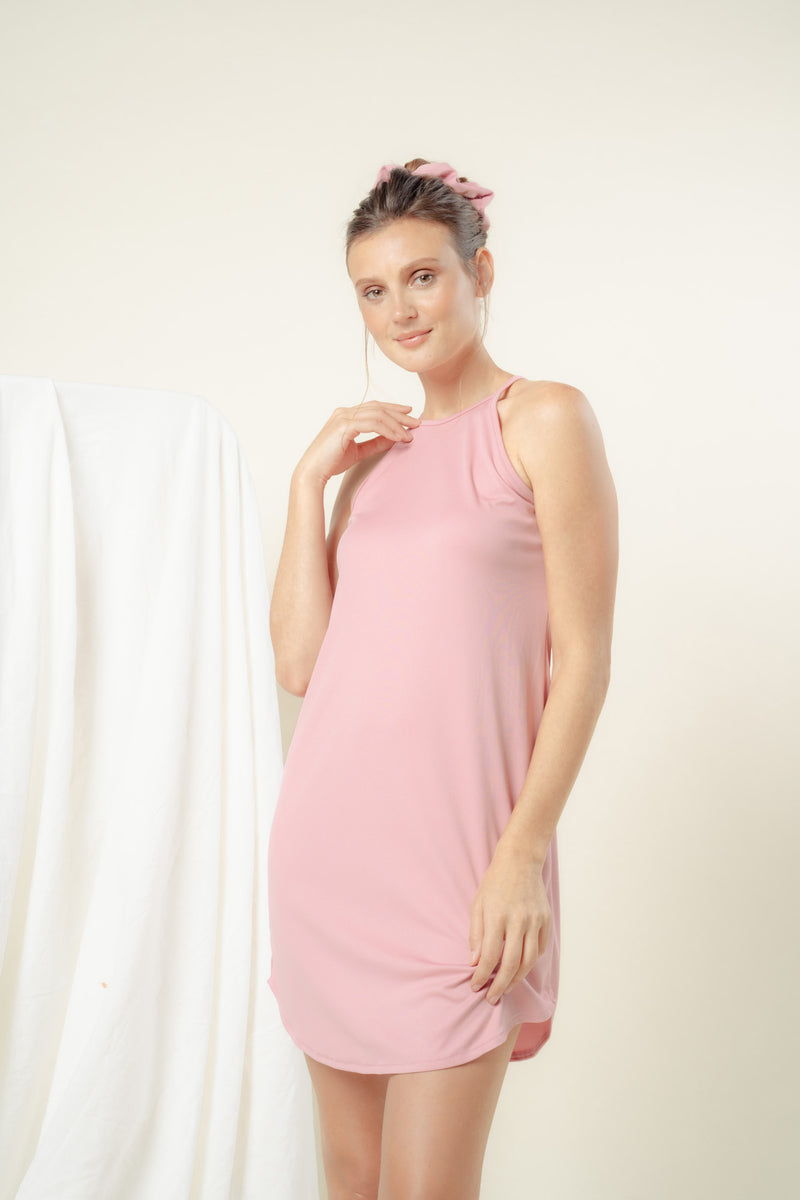 Naomi Halter Lounge Dress (BLUSH)