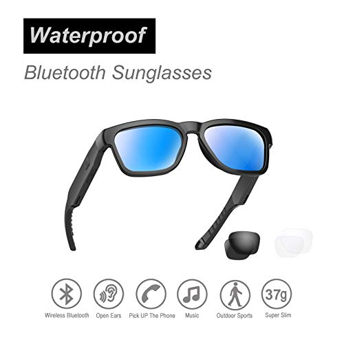 Water Resistant Audio Sunglasses, Fashionable Bluetooth Sunglasses to Listen Music and Make Phone Calls,UV400 Polarized Lens and Compatible with Prescription Lens
