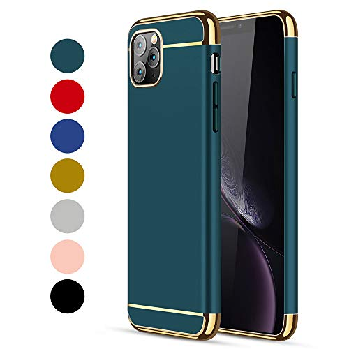 CROSYMX iPhone 11 Pro Case, 3 in 1 Ultra Thin and Slim Hard Case Coated Non Slip Matte Surface with Electroplate Frame for Apple iPhone 11 Pro (5.8'')(2019) - Dark Green
