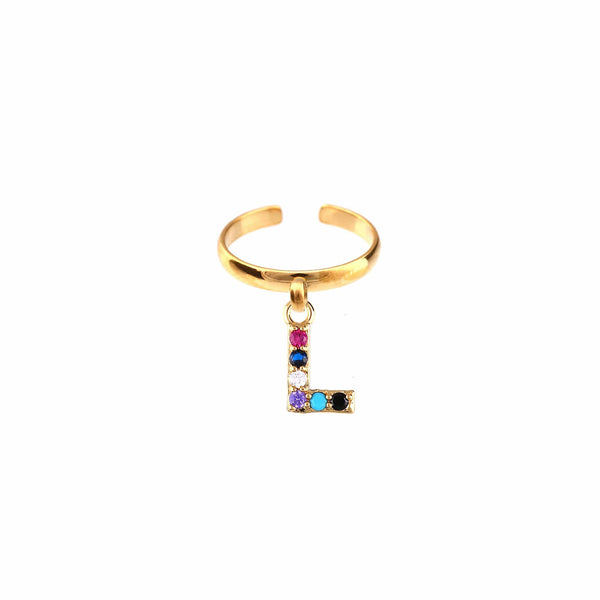 METAL CHORD ANELLO ORO / ZIRCONE MULTICOLOR 10mm ANELLI - LETTERA L